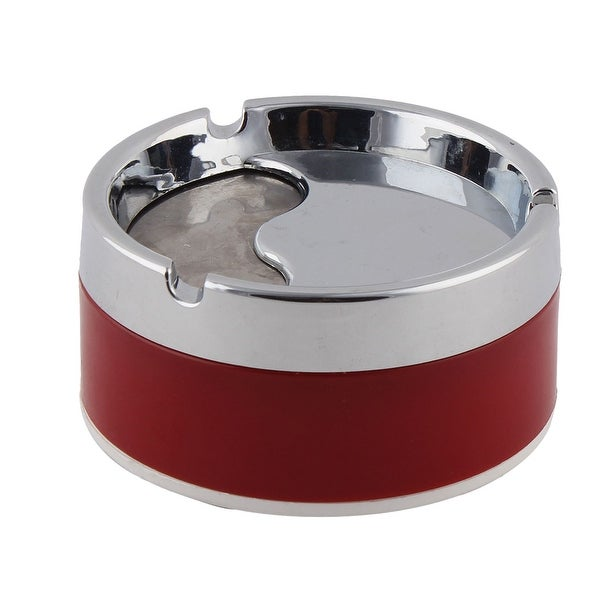 Unique Bargains Household Metal Round Shaped Cigarette Ashtray Red Silver  Tone
