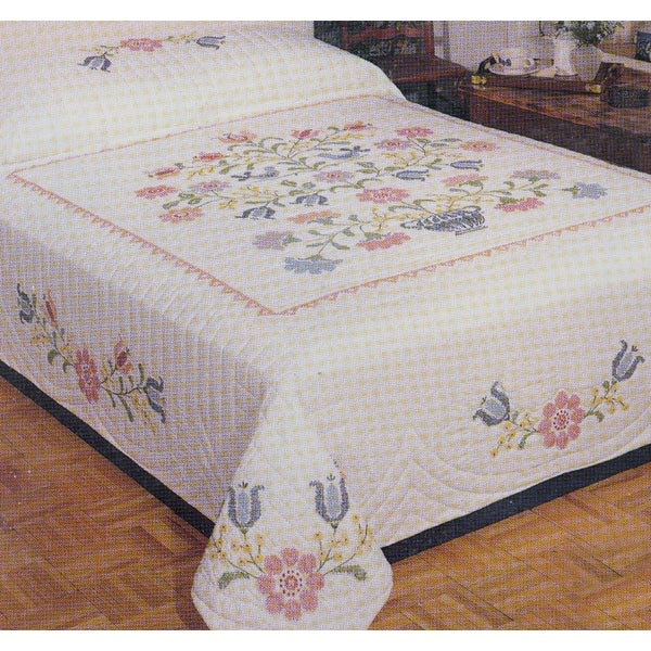 "Stamped Cross Stitch Quilt 90""X103""-Colonial Stencil"