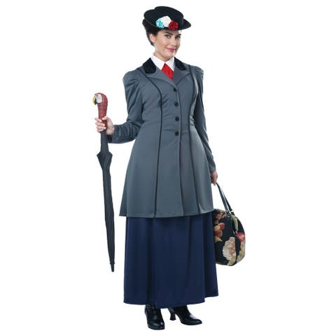 Womens Plus Size English Nanny Mary Poppins Costume