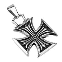 Stainless Steel Iron Cross Within Celtic Cross Pendant (28 mm Width)