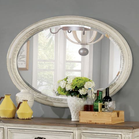 The Gray Barn Caelum Farmhouse 49-inch x 37-inch Antique White Mirror