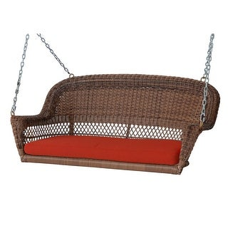 """51.5"""" Hand Woven Honey Brown Resin Wicker Outdoor Porch Swing with Red Cushion"""