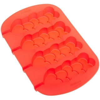 Wilton Silicone Stacked HeartsDurable Food SafeKitchen 4-Cavity Mold Pan - Red