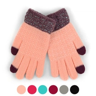 Junior's Duel Tone Smartphone Accessible Winter Gloves