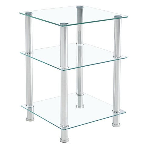 """42*42*61cm Three-layer Tempered Glass Side Table - 16.54"""""""