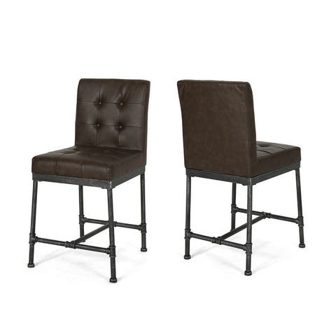 Commonwealth Faux Leather Counter Stools by Christopher Knight Home