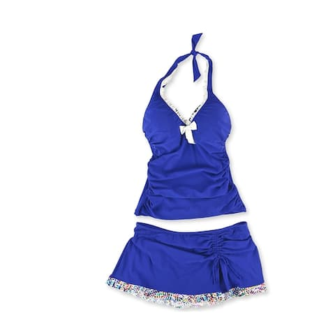 Profile Womens Trimmed Ruffle Underwire Skirt 2 Piece Tankini, Blue, 38D
