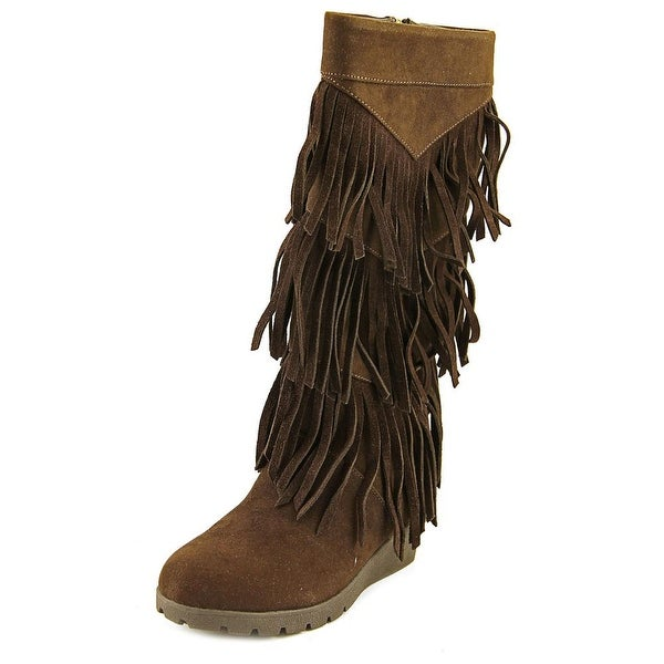 Kenneth Cole Reaction Simona Fringe Women Round Toe Canvas Brown Knee High Boot