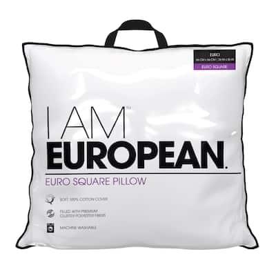 I AM European Hypoallergenic Down Alternative Decorative Bed Pillow - White