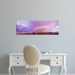 Easy Art Prints Panoramic Image 'Mountain range at sunrise, Teton Range, Grand Teton National Park, Wyoming' Canvas Art