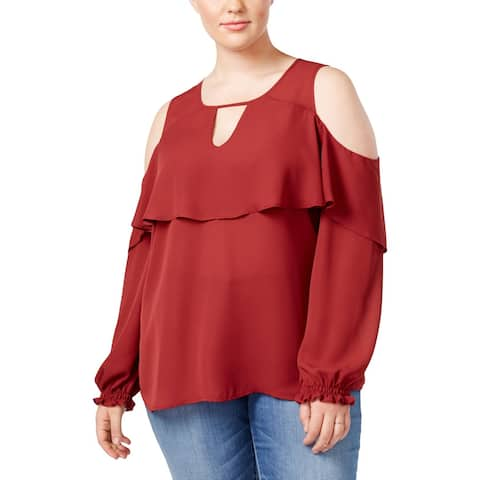 Eyeshadow Womens Plus Blouse Cold Shoulder Ruffled