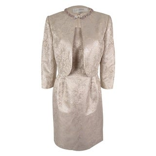 Tahari Women's Sleeveless Metallic Dress & Jacket - Light Mauve