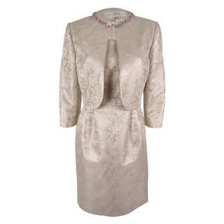 Tahari Women's Sleeveless Metallic Dress & Jacket - Light Mauve