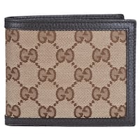Gucci Men's 260987 Beige Canvas GG Guccissima Bifold Wallet - Brown