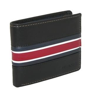 Tommy Hilfiger Men's Leather Murrey Double Billfold Wallet - Black - One Size