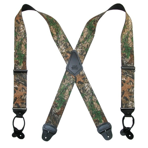 CTM® Men's Elastic 2 Inch Wide Camouflage Button-End Suspenders