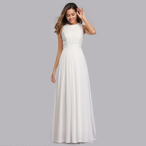 Ever Pretty Womens Sleeveless Lace High Collar Long Ball Gown A Line Formal Evening Bridesmaid Dresses 07391