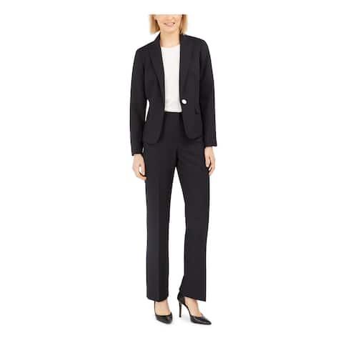 LE SUIT Black Blazer Straight leg Pant Suit 10