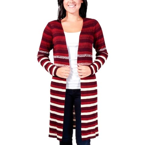 NY Collection Womens Petites Cardigan Sweater Striped Open Front