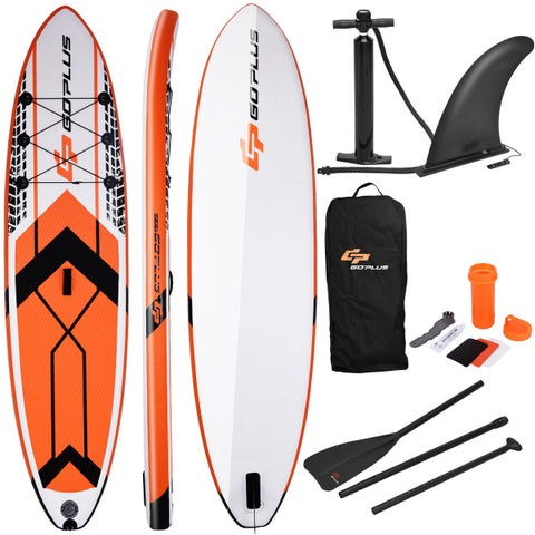 Goplus 10.5' Inflatable Stand Up Paddle Board SUP W/ Fin Adjustable Paddle Backpack