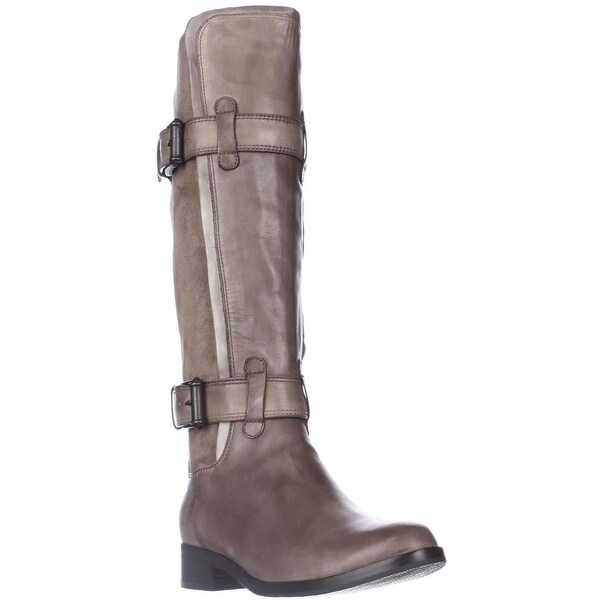 Cole Haan Air Whitley Buckled Pull Up Riding Boots, Greige - 5.5 us