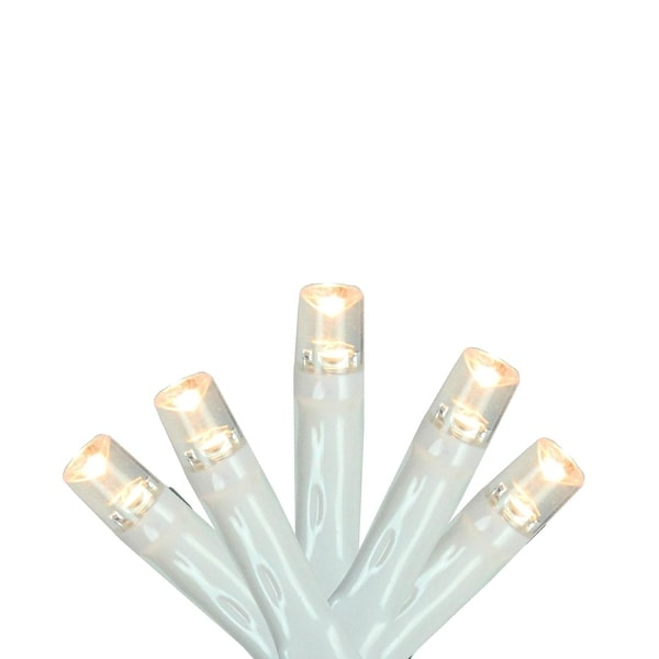 """Set of 10 Warm White LED Wide Angle Christmas Lights 4"""" Spacing - White Wire"""