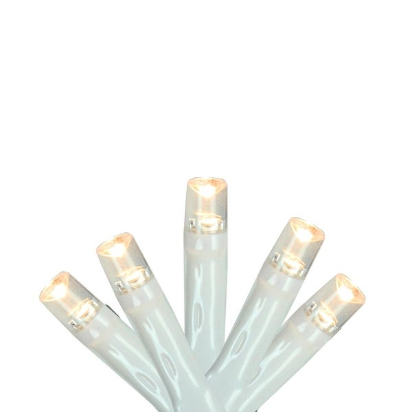 """Set of 20 Warm White LED Wide Angle Christmas Lights 4"""" Spacing - White Wire"""