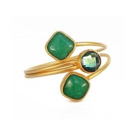 Helene Jewelry Green Triple Stone Coil Bracelet