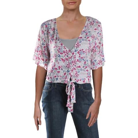 Aqua Womens Button-Down Top Floral Print Tie Front - Pink Floral