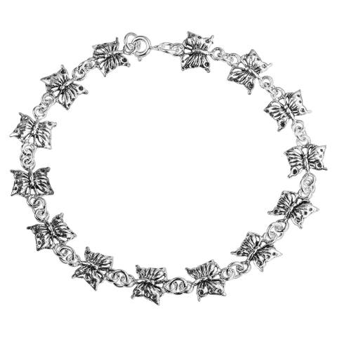 Handmade Adorable Chain of Linked Butterflies Sterling Silver Bracelet (Thailand)