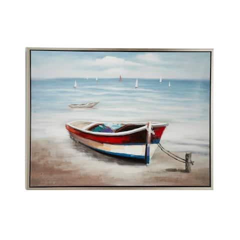 Multi Polystone Coastal Framed Wall Art Coastal 36 x 47 x 2