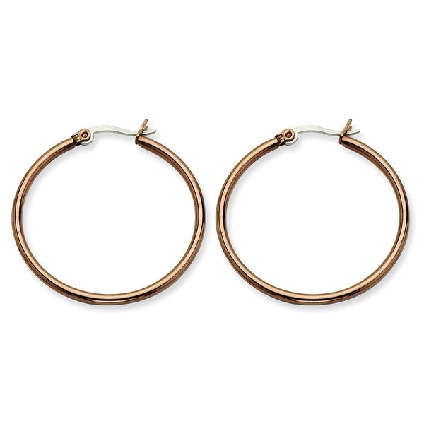 Chisel Stainless Steel Brown IP 32mm Hoop Earrings