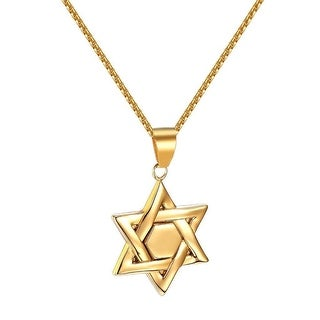 """Mens Star Of David Pendant Gold Tone Stainless Steel Religious Box Necklace 24"""""""
