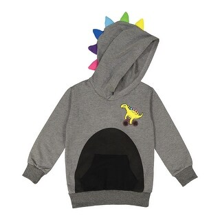 Doodle Pants Toddler Dinosaur Hoodie - Children's Kid's Hooded Sweatshirt - Gray