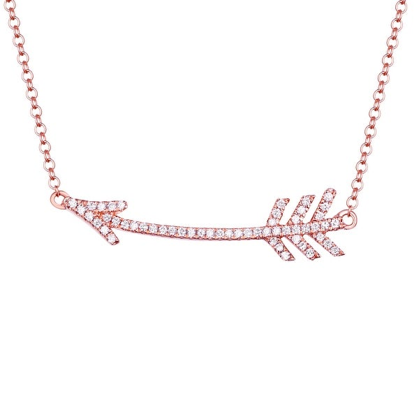 Fabulous Arrow 17 Inches Long Chain Necklace With 0.14 Carat G-H/SI1 Natural Diamond - White