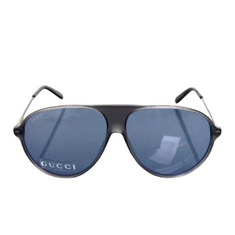 a6b3d6fb64 Gucci Unisex Aviator Gray Blue Metal   Plastic Sunglasses GG1649 s JJ376 -  One