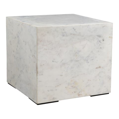 Aurelle Home Natalia Modern Solid White Marble Side Table