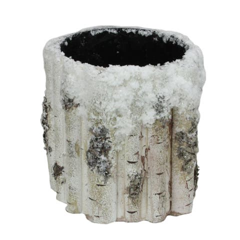 """7"""" White and Brown Small Snowy Faux Birch Christmas Planter - N/A"""