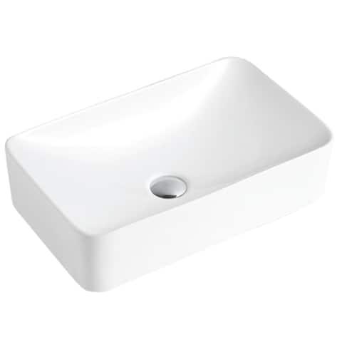 "Karran VC-507-WH Valera 19"" Vitreous China Vessel Bathroom Sink in White"