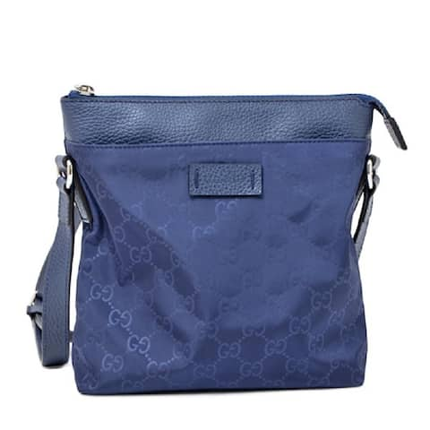 Gucci Womens GG Guccissima Navy Blue Nylon Messenger Crossbody Bag