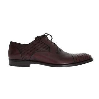Dolce & Gabbana Bordeaux Leather Dress Formal Shoes