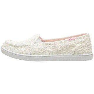 Roxy Girls RG Lido IV Canvas Slip On Loafers, White, Size 12 M US Little Kid