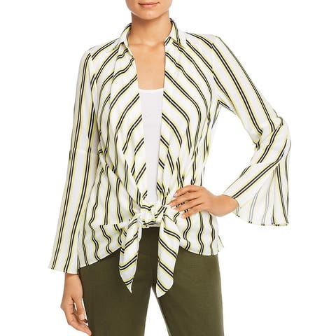 Kenneth Cole New York Womens Blouse Striped Tie Front - Limelight
