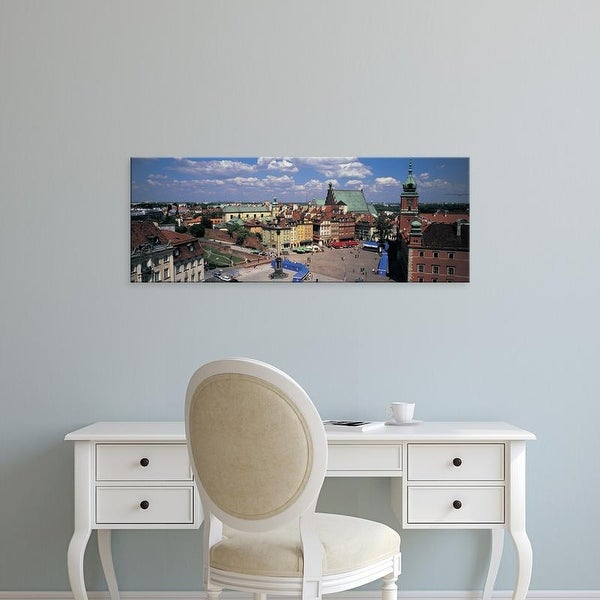 Easy Art Prints Panoramic Images's 'High angle view of a market square, Warsaw, Silesia, Poland' Premium Canvas Art