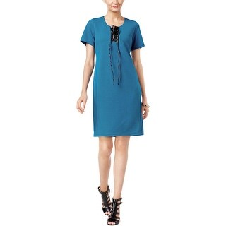 NY Collection Womens Casual Dress Faux Leather Lace Up