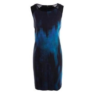 Elie Tahari Womens Printed Mesh Inset Wear to Work Dress - 2