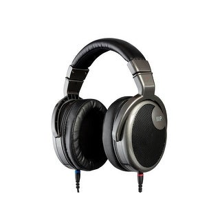 Monoprice HR-5 Wired Headphones - Black/Silver With 42mm Drivers, High Resolution Open Back, 1.3mm Cable