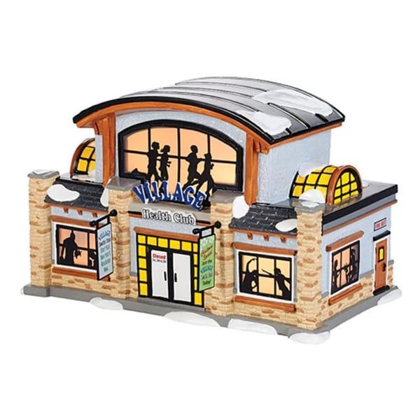 Department 56 Snow Village Health Club Ceramic Lighted Building #4036568 - silver
