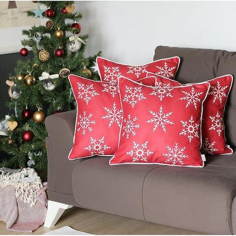 "Christmas Blue Snowflakes Throw Pillow Covers 18""x18"" (Set of 4)"