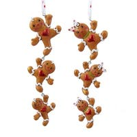 """Club Pack of 12 Gingerbread Kisses Boy and Girl Dangling Cookie Christmas Ornaments 6"""" - brown"""